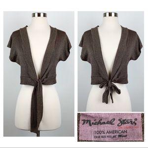 MICHAEL STARS Dolman Sleeve Cropped Tie Cardigan